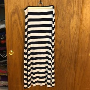 New York & Co Navy Striped Maxi Skirt, Size L